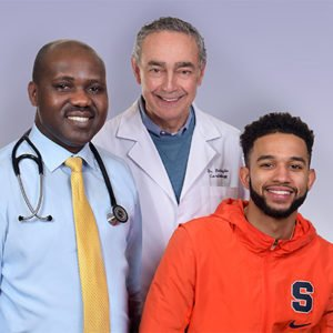 SU basketball player Howard Washing and Crouse cardiologists