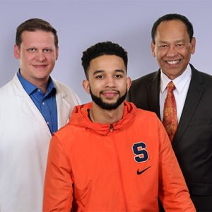 SU Basketball player Howard washington and Crouse physicians